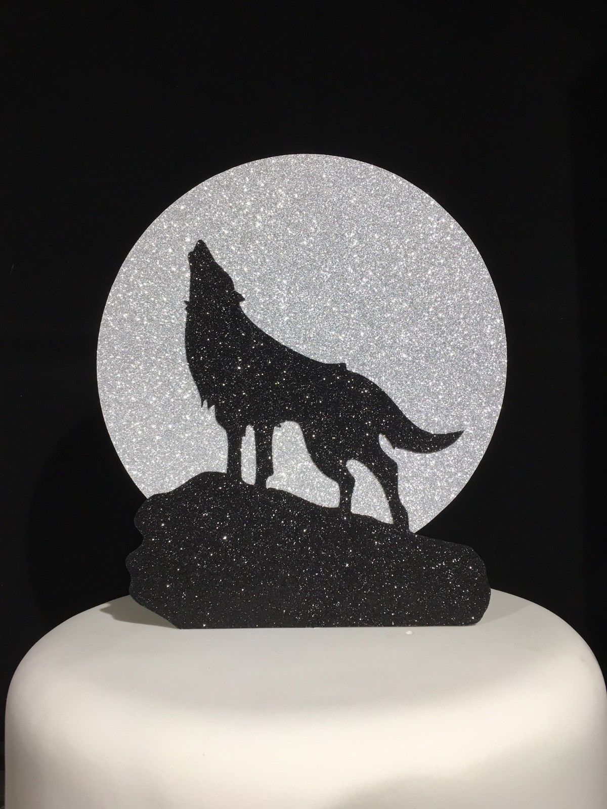 Howl At The Moon Wolf Double Layered Glitter Cake Topper